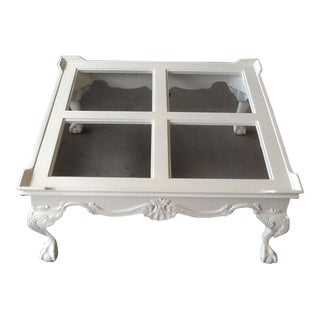 White Gloss Lacquer & Glass Coffee Table For Sale