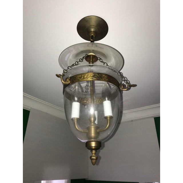Metal Set of 3, Clear Glass and Brass Bell Jar, Three Candle, Light Fixture For Sale - Image 7 of 12