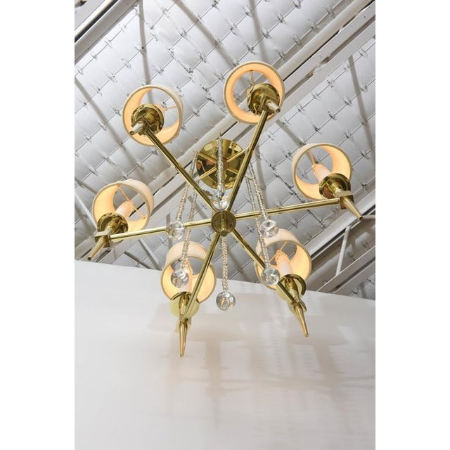 Tommi Parzinger Polished Brass and Glass Beaded Chandelier by Tommi Parzinger For Sale - Image 4 of 10
