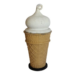 """1950's Vintage Papier Mâché Ice Cream Cone """"Eat-it-all"""" Sign"""