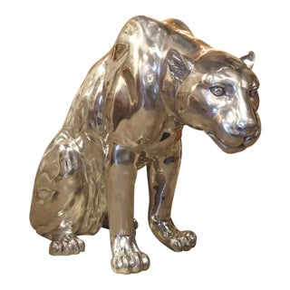 Life-Sized Aluminum Panther by French Sculptor Christian Maas For Sale
