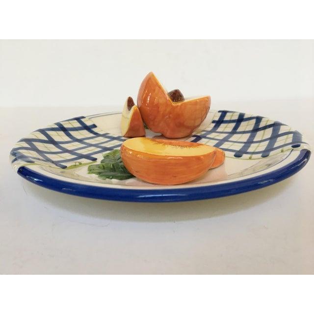 Late 20th Century Trompe l'Oeil Decorative Blue Plaid Peach Plate For Sale - Image 5 of 10