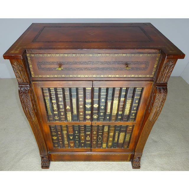 Maitland - Smith Maitland Smith Leather Faux Book Cabinet For Sale - Image 4 of 11