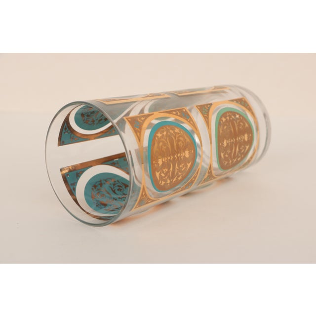 Mid-Century Gold and Aqua Highballs - Set of 8 For Sale - Image 4 of 5