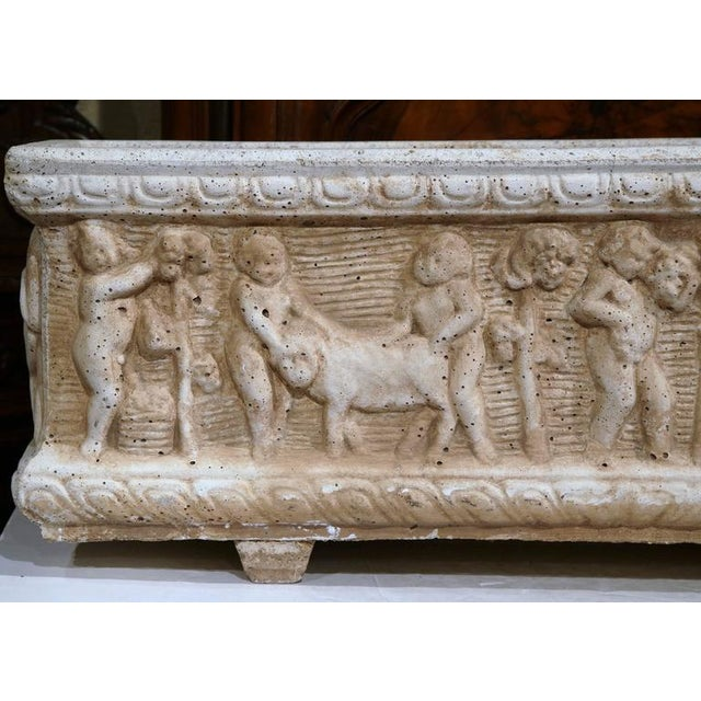 19th Century French Carved Stone Jardiniere With Children Figural Motifs For Sale - Image 9 of 9