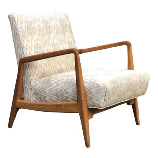 "Vintage 1940s Jens Risom ""U420"" Low Lounge Chair For Sale"