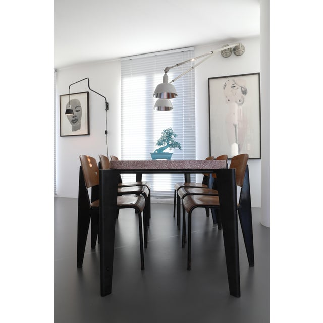Black Jean Prouve Dining Table and Chairs – Granito Table and 6 Metropole Chairs For Sale - Image 8 of 10