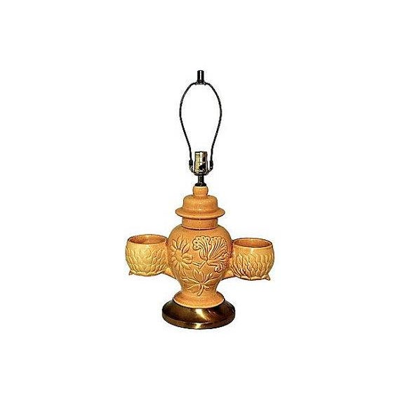 Large Pottery Lamp With Orchid Holders - Image 5 of 5