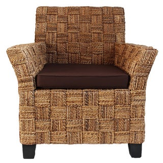 Seagrass Rope Arm Chair W/ Brown Cushion For Sale