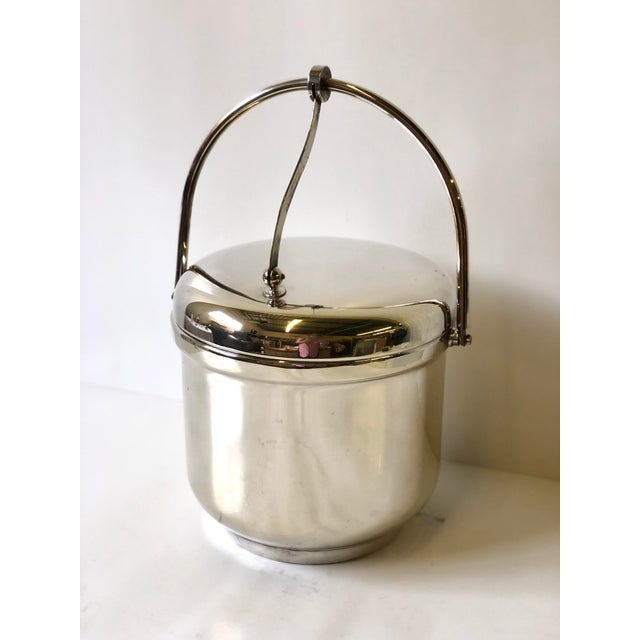 Art Deco Silverplated Swing Top Ice Bucket and Tongs, Reed & Barton - a Pair For Sale - Image 3 of 13
