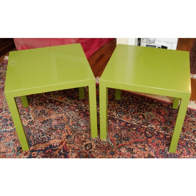 1960s Lacquered green Parsons end side tables by Founders Furniture. Place together for a versatile modern coffee table.