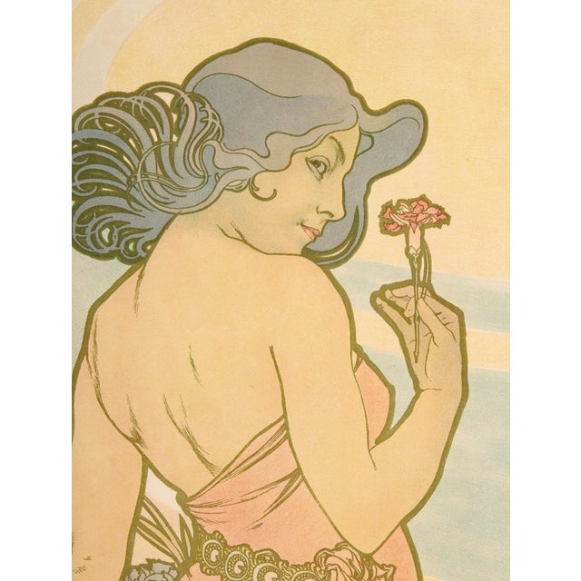 Art Nouveau Late 19th Century Alphonse Mucha Carnation Art Nouveau Poster For Sale - Image 3 of 6