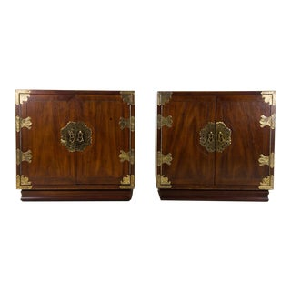 Henredon Chinoiserie Campaign Style Nightstands - a Pair