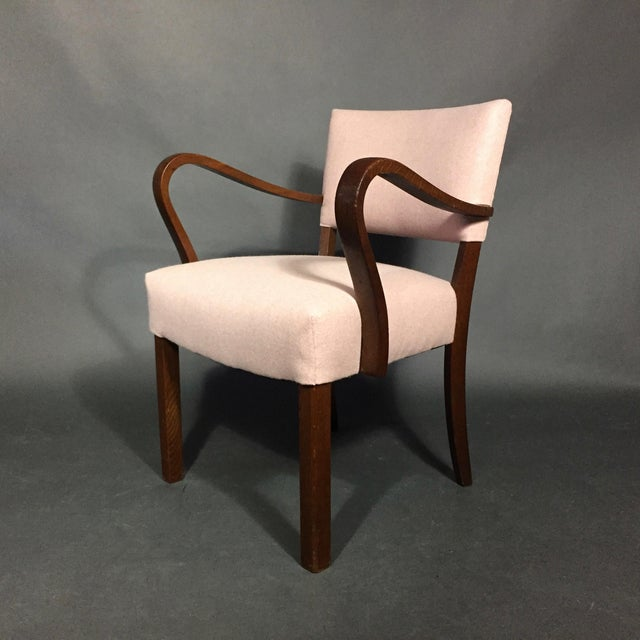 1940s Armchair in Dark Stained Oak, Felted Wool Upholstery For Sale - Image 10 of 10