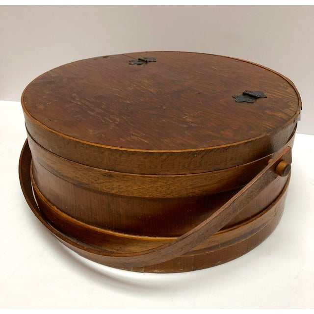 American 1930s Shaker Firkin Wood Sewing Basket For Sale - Image 3 of 11