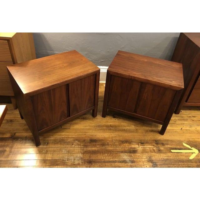 Hard to find PAIR of 1960's Walnut Nightstands. Beautiful grain patterns, super clean, well made. Simple open cabinet with...
