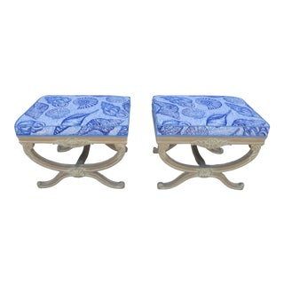 Vintage Mid Century Lily Pulitzer Nautical Themed Italianate Benches- A Pair For Sale
