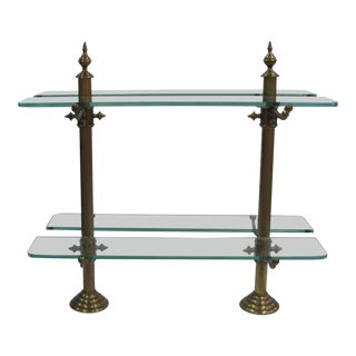 French Pastry Stand Marble Base, Brass Standards & Glass Shelves For Sale