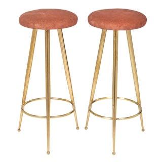 Gio Ponti Style Brass Bar Stools