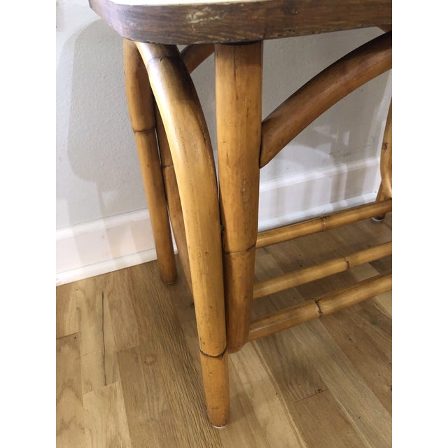 Mid-Century Modern 1970s Boho Chic Rattan Side Table With Laminate Top For Sale - Image 3 of 9