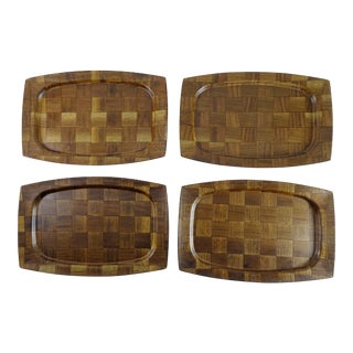 Mid-Century Weavewood Trays - Set of 4 For Sale
