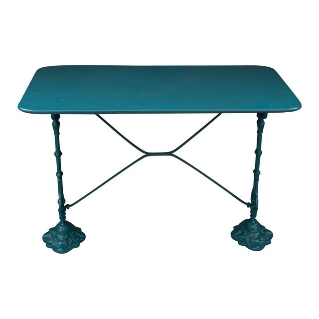 Blue Vintage 20th Century French Iron Bistro Table For Sale - Image 8 of 8