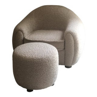 Jean Royere Inspired Chair & Ottoman For Sale