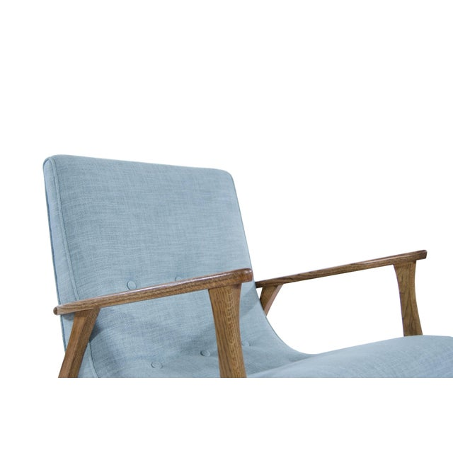 Linen Modernist Scoop Oak Linen Upholstered Lounge Chairs - a Pair For Sale - Image 7 of 10
