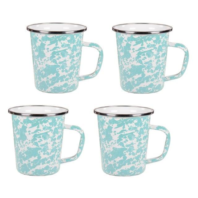 Modern Latte Mugs Sea Glass Swirl - Set of 4 For Sale - Image 3 of 3