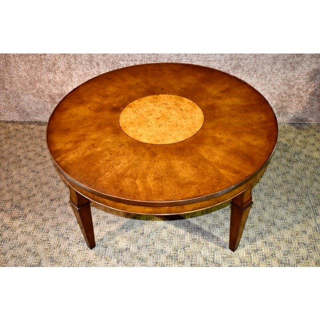 Traditional Vintage Old Colony Regency Style Inlaid Lazy Susan Cocktail Table For Sale - Image 3 of 13