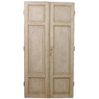 Pair of Tall French Doors From the Mid-19th Century With Grey Green Finish For Sale