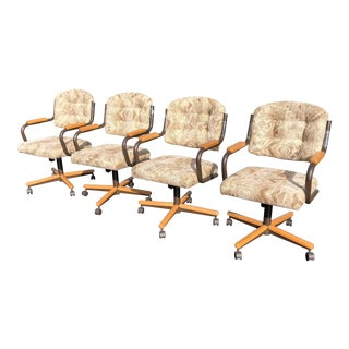 Art Deco Chromcraft Caster Tilt Wood Game Dinette Chairs - Set of 4