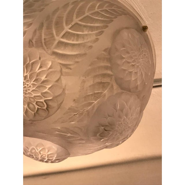 Glass Rene Lalique Chandelier 'Dahlias' Signed For Sale - Image 7 of 13