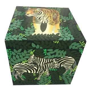 1980s Green Painted Lacquered Animal Box For Sale