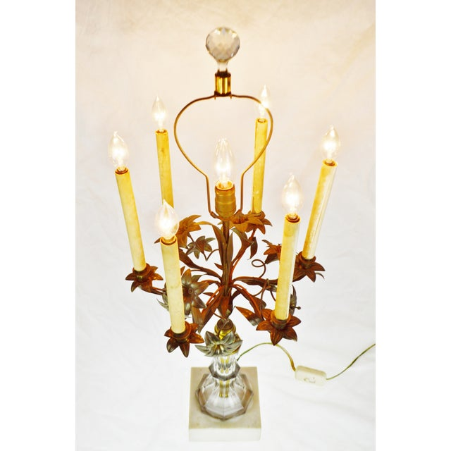 Antique Toleware Candelabra Table Lamp with Marble Base Condition consistent with age and history. Patina has been...