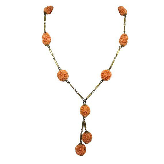 1920s Vintage Coral Celluloid Carved Bead Necklace For Sale - Image 4 of 4