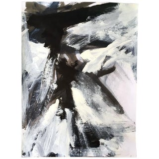 Stephanie Cate Abstract Europa 19 Study Black and White Painting on Paper For Sale