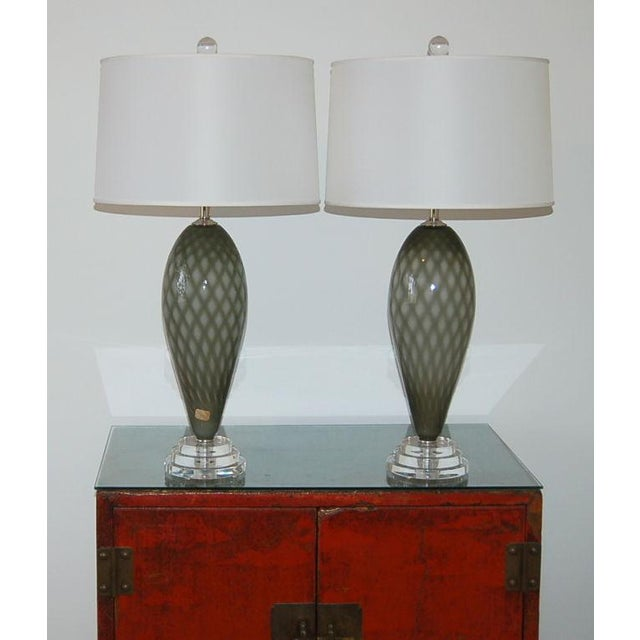 Vintage Murano Glass Table Lamps Gray For Sale - Image 9 of 9