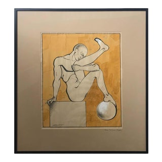 """Nude Athlete Drawn Titled """"Nude Male"""" Arsene Melitonian 'Moscow' For Sale"""