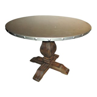 Round Dining Table Wood Pedestal Metal Top Restoration Hardware Style