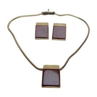 1970 Pierre Cardin Cinnabar Resin Necklace & Earrings For Sale
