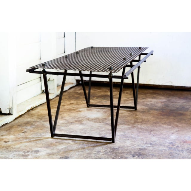 Artisan Made Perforated Metal Modernist Coffee Table Bed Entry Bench Tv Media Stand For Sale In San Antonio - Image 6 of 10