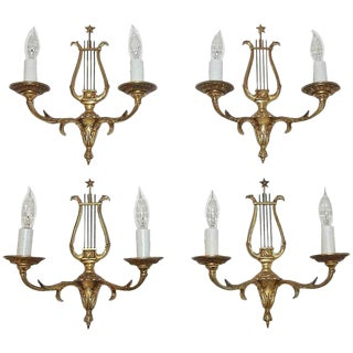 Set of Four French Directoire Style Brass Petitot Wall Sconces For Sale