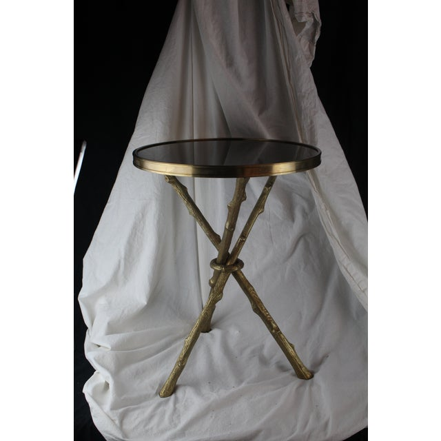 Gold 20th Century Hollywood Regency Bamboo Side Table For Sale - Image 8 of 9
