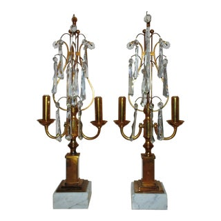 Pair of Italian Brass Candelabra Girandole Lyre Lamps Mid Century Modern W/ Prisms For Sale