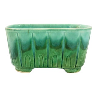 Mid Century Drippy Green Ceramic Planter For Sale