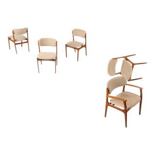 1960s, Erik Buch for (Od) Oddense Maskinsnedkeri Møbler, Denmark 'Model No. 49' Teak Chairs - Set of 5 For Sale