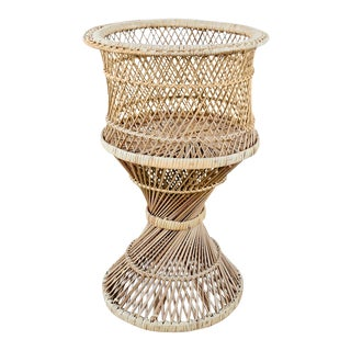 Mid-Century Wicker Plant Stand For Sale