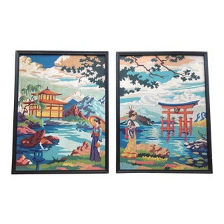 "Mid 20th Century Vintage Asian Style Paint by Number"" Chinoiserie Paintings - a Pair For Sale"