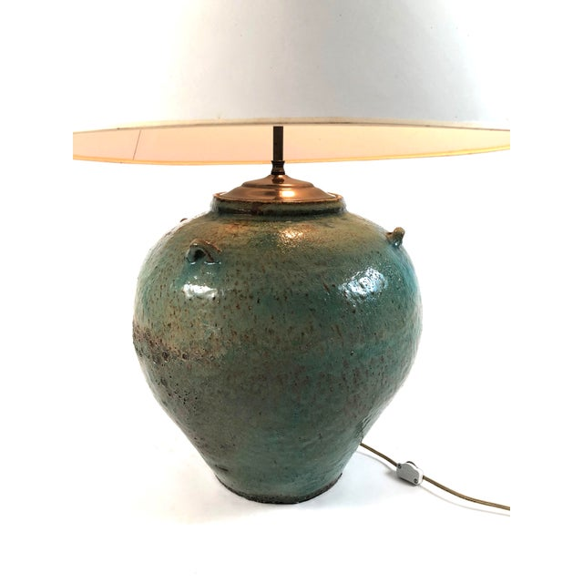 Arts & Crafts Large Green Glazed Art Pottery Lamp For Sale - Image 3 of 13